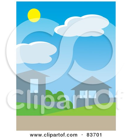Royalty-Free (RF) Clipart Illustration of The Sun Above Clouds In A Daytime Sky Over Homes In A Neighborhoo by Rosie Piter