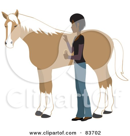 Royalty-Free (RF) Clipart Illustration of a Young Indian Woman Grooming Her Pet Horse With A Brush by Rosie Piter