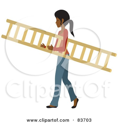 Royalty-Free (RF) Clipart Illustration of a Young Indian Woman Carrying A Wooden Ladder by Rosie Piter