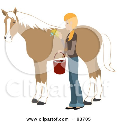 Royalty-Free (RF) Clipart Illustration of a Young Blond Caucasian Woman Washing And Grooming Her Horse by Rosie Piter