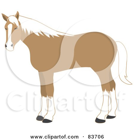 Royalty-Free (RF) Clipart Illustration of a Standing Tan And White Horse by Rosie Piter