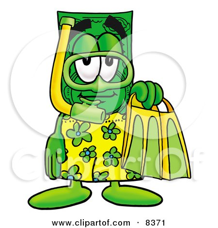Clipart Picture of a Dollar Bill Mascot Cartoon Character in Green and Yellow Snorkel Gear by Toons4Biz