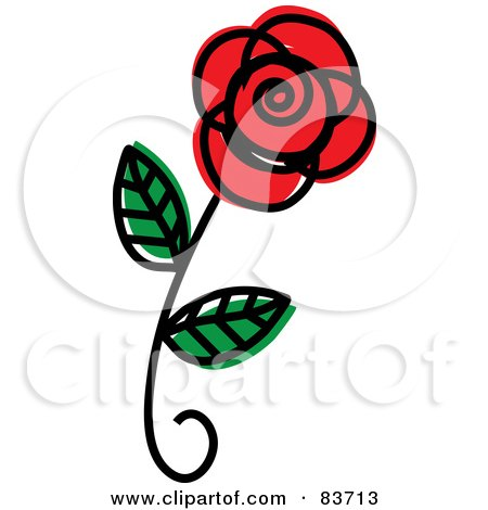 Royalty-Free (RF) Clipart Illustration of a Single Red Rose Sketch by Rosie Piter