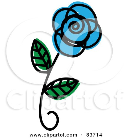 Royalty-Free (RF) Clipart Illustration of a Single Blue Rose Sketch by Rosie Piter