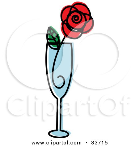 Royalty-Free (RF) Clipart Illustration of a Red Rose In A Champagne Flute by Rosie Piter