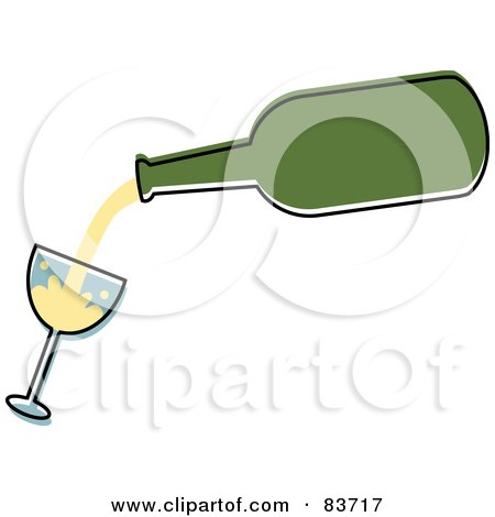 Royalty-Free (RF) Clipart Illustration of a Green Bottle Pouring White Wine Into A Tilted Glass by Rosie Piter