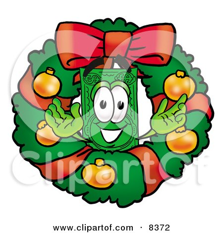 Clipart Picture of a Dollar Bill Mascot Cartoon Character in the Center of a Christmas Wreath by Toons4Biz