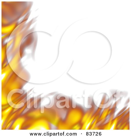 Royalty-Free (RF) Clipart Illustration of a Corner Border Of Blurred Flames Over White by Arena Creative