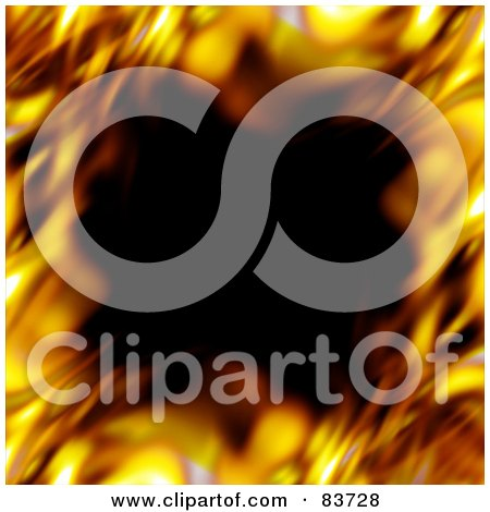 Royalty-Free (RF) Clip Art Illustration of a Blurred Border Of Flames Around Black by Arena Creative