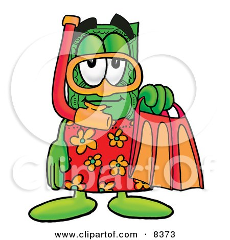 Clipart Picture of a Dollar Bill Mascot Cartoon Character in Orange and Red Snorkel Gear by Toons4Biz
