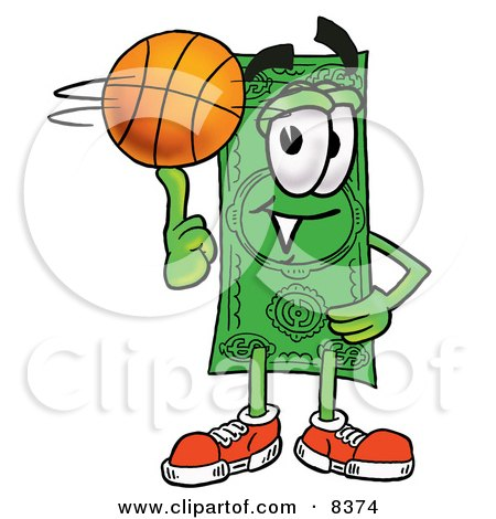 Clipart Picture of a Dollar Bill Mascot Cartoon Character Spinning a Basketball on His Finger by Toons4Biz