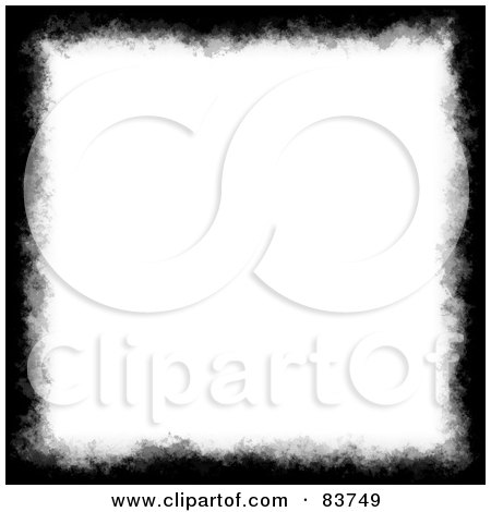 Royalty-Free (RF) Clipart Illustration of a Grungy Black Watercolor Border Around White Space by Arena Creative