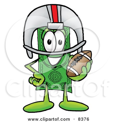 Clipart Picture of a Dollar Bill Mascot Cartoon Character in a Helmet, Holding a Football by Toons4Biz