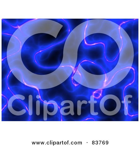Royalty-Free (RF) Clipart Illustration of a Blue Electricity Plasma Background On Black by Arena Creative