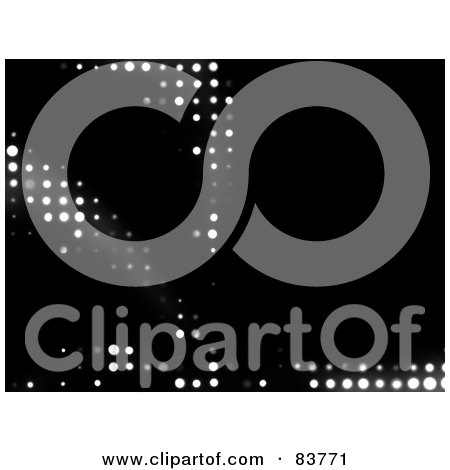 Royalty-Free (RF) Clipart Illustration of a Black Background With Glowing White Halftone Lights by Arena Creative