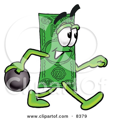 Clipart Picture of a Dollar Bill Mascot Cartoon Character Holding a Bowling Ball by Toons4Biz