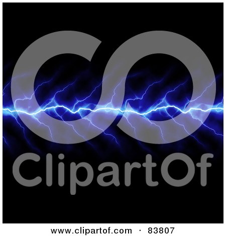 Royalty-Free (RF) Clipart Illustration of a Vertical Blue Lightning Bolt Striking On Black by Arena Creative