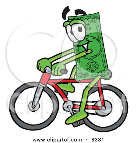 Clipart Picture of a Dollar Bill Mascot Cartoon Character Riding a Bicycle by Toons4Biz