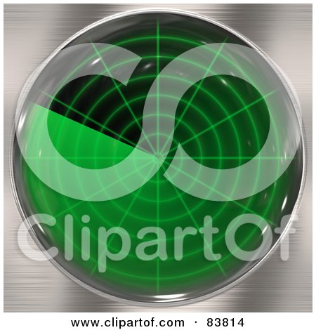 Royalty-Free (RF) Clipart Illustration of a Green Radar Screen On Chrome by Arena Creative