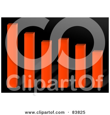 Royalty-Free (RF) Clipart Illustration of an Orange 3d Bar Graph Over Black by Arena Creative