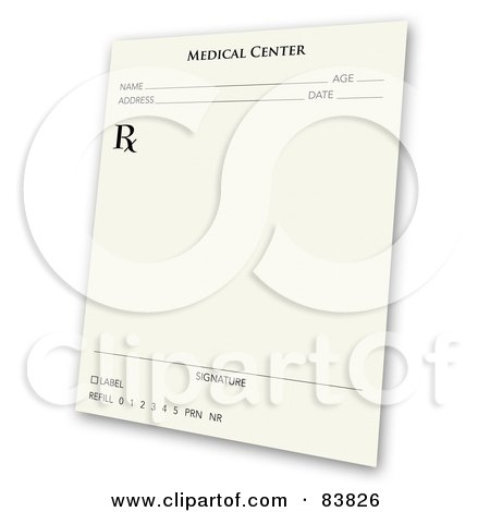 Royalty-Free (RF) Clipart Illustration of a Tilted Prescription Pad Over White by Arena Creative