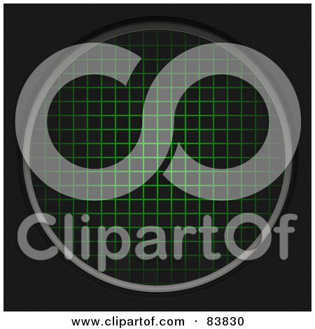 Royalty-Free (RF) Clipart Illustration of a Round Green Radar Grid On Black by Arena Creative