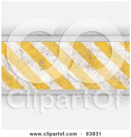 Royalty-Free (RF) Clipart Illustration of a Bar Of Yellow And White Hazard Stripes With Shaded White Borders by Arena Creative