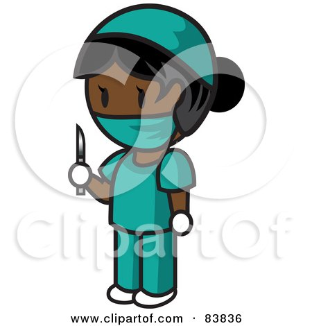 Royalty-Free (RF) Clipart Illustration of an Indian Mini Person Surgeon Woman In Scrubs, Holding A Scalpel by Rosie Piter