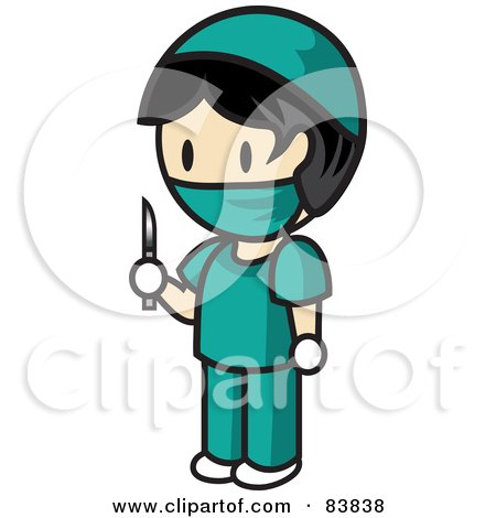Royalty-Free (RF) Clipart Illustration of an Asian Mini Person Surgeon Man In Scrubs, Holding A Scalpel by Rosie Piter