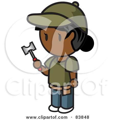 Royalty-Free (RF) Clipart Illustration of an Indian Mini Person Woman Holding A Hammer by Rosie Piter