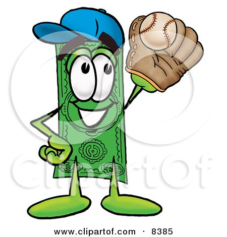 Clipart Picture of a Dollar Bill Mascot Cartoon Character Catching a Baseball With a Glove by Toons4Biz