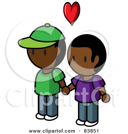 Royalty-Free (RF) Clipart Illustration of a Gay Indian Mini Person Couple Holding Hands Under A Heart by Rosie Piter