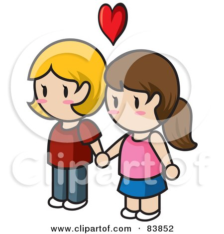 Royalty-Free (RF) Clipart Illustration of a Lesbian Caucasian Mini Person Couple Holding Hands Under A Heart by Rosie Piter