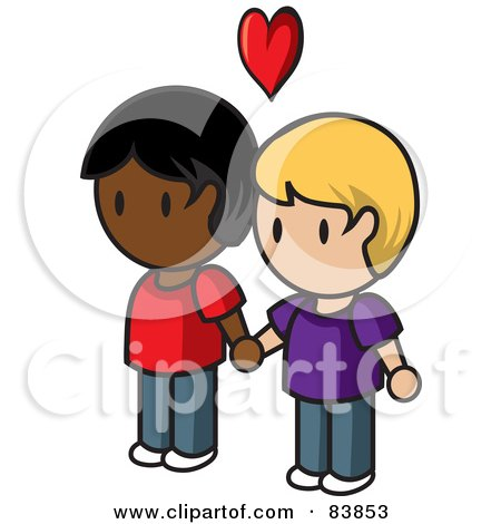 Royalty-Free (RF) Clipart Illustration of a Gay Caucasian And Indian Mini Person Couple Holding Hands Under A Heart by Rosie Piter