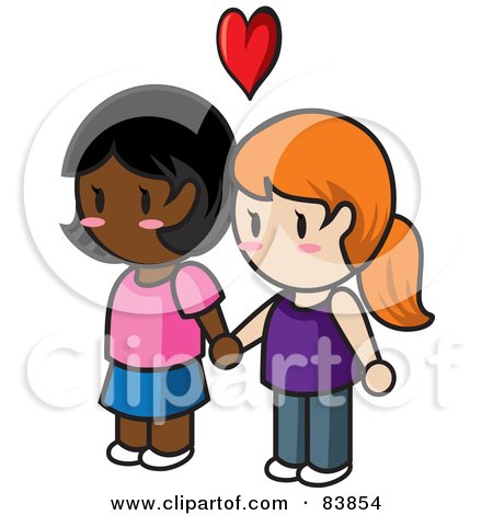 Royalty-Free (RF) Clipart Illustration of a Lesbian Caucasian And Indian Mini Person Couple Holding Hands Under A Heart by Rosie Piter