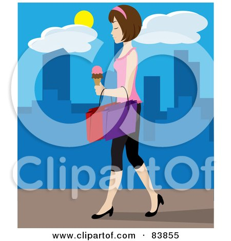 Royalty-Free (RF) Clipart Illustration of a White Woman Walking On A City Sidewalk, Carrying Ice Cream And Shopping Bags by Rosie Piter