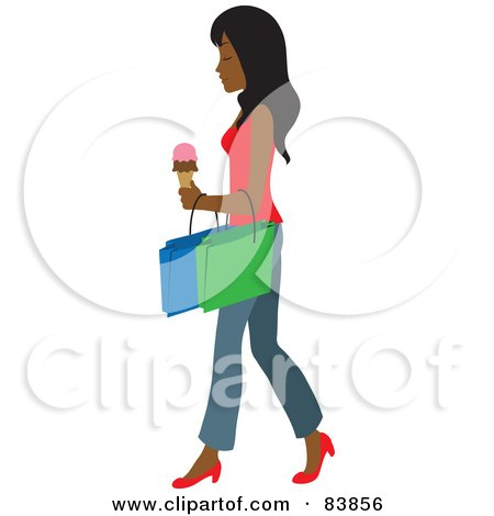 Royalty-Free (RF) Clipart Illustration of an Indian Woman Carrying An Ice Cream Cone And Shopping Bags by Rosie Piter