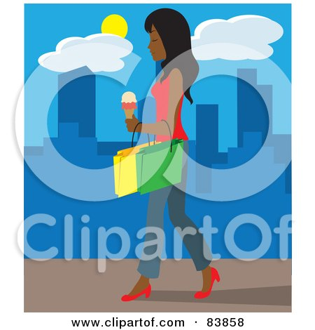 Royalty-Free (RF) Clipart Illustration of an Indian Woman Walking On A City Sidewalk, Carrying Ice Cream And Shopping Bags by Rosie Piter