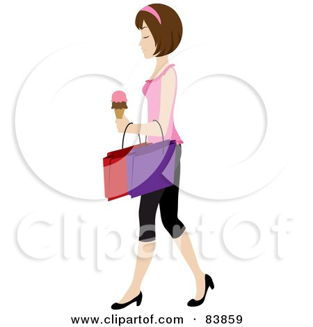 Royalty-Free (RF) Clipart Illustration of a Brunette Caucasian Woman Carrying An Ice Cream Cone And Shopping Bags by Rosie Piter