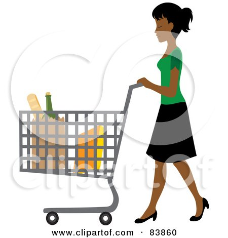 Royalty-Free (RF) Clipart Illustration of an Indian Woman Pushing Bagged Groceries In A Shopping Cart by Rosie Piter