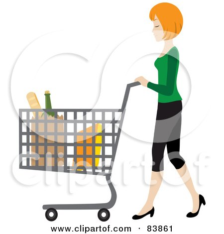 Royalty-Free (RF) Clipart Illustration of a Blond Caucasian Woman Pushing Bagged Groceries In A Shopping Cart by Rosie Piter