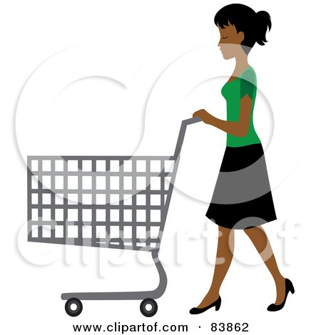 Royalty-Free (RF) Clipart Illustration of an Indian Woman Pushing An Empty Shopping Cart In A Store by Rosie Piter