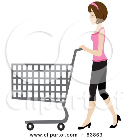 Royalty-Free (RF) Clipart Illustration of a Brunette Caucasian Woman Pushing An Empty Shopping Cart In A Store by Rosie Piter