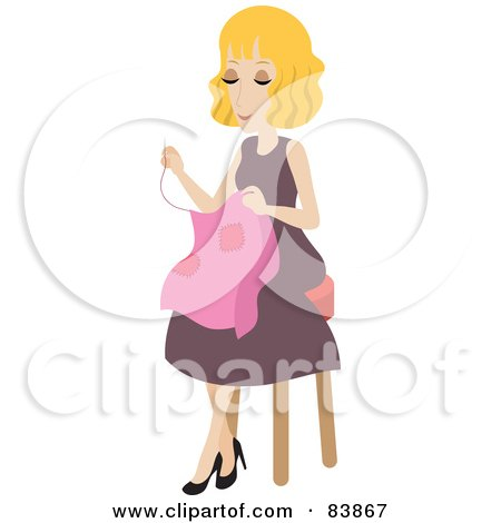 Blond Caucasian Woman Sitting On A Stool And Sewing Posters, Art Prints