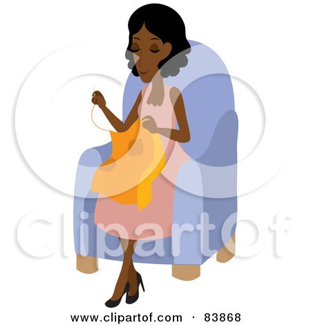 Royalty-Free (RF) Clipart Illustration of a Pleasant Indian Woman Sitting In A Chair And Sewing by Rosie Piter