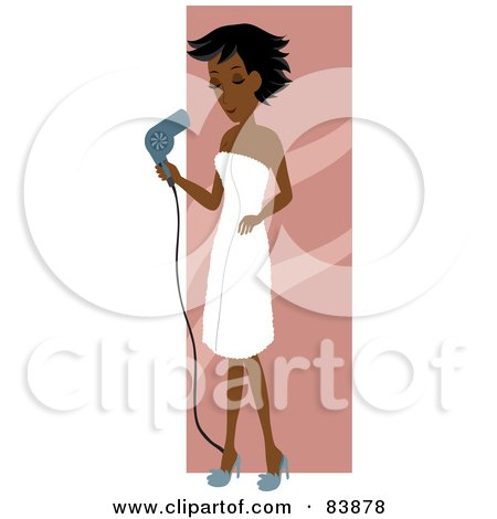 Royalty-Free (RF) Clipart Illustration of an Indian Woman Draped In A Towel, Blow Drying Her Hair by Rosie Piter
