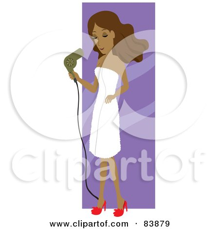 Royalty-Free (RF) Clipart Illustration of a Hispanic Woman Draped In A Towel, Blow Drying Her Hair by Rosie Piter