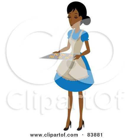 Royalty-Free (RF) Clipart Illustration of a Domestic Hispanic Woman Holding Chocolate Chip Cookies On A Baking Sheet by Rosie Piter