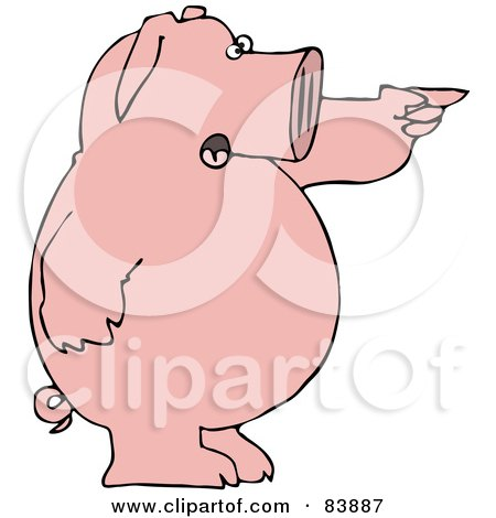 Royalty-Free (RF) Clipart Illustration of a Standing Pink Pig Shouting And Pointing To The Right by djart