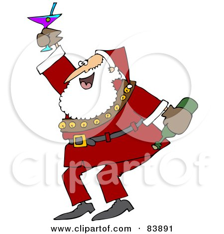 Royalty-Free (RF) Clipart Illustration of Santa Dancing And Drinking At A New Years Party by djart